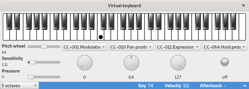 virtual keyboard with MIDI controllers